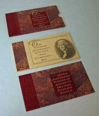 Thomas Jefferson Coin and Currency Set package contents
