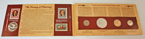 Lewis and Clark Coin and Currency Set holder opened