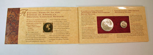 Thomas Jefferson Coin and Currency Set holder opened