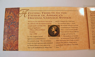 Thomas Jefferson Coin and Currency Set left inside front cover