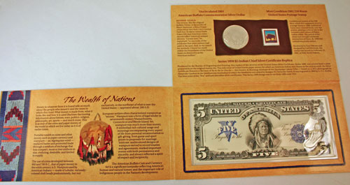 American Buffalo Coin and Currency Set coin package unfolded