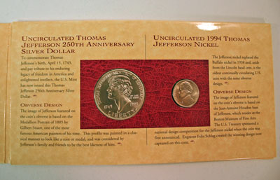 Thomas Jefferson Coin and Currency Set coins obverse