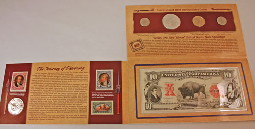 Lewis and Clark Coin and Currency Set holder unfolded