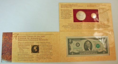 Thomas Jefferson Coin and Currency Set holder unfolded
