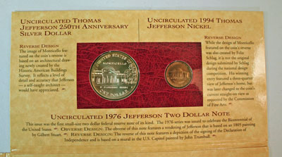 Thomas Jefferson Coin and Currency Set coins reverse