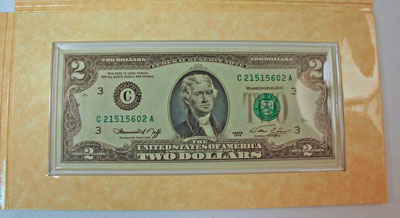 Thomas Jefferson Coin and Currency Set two dollar bill face