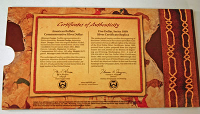 American Buffalo Coin and Currency Set certificate of authenticity
