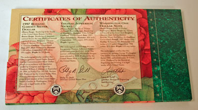 Botanic Garden Coin and Currency Set certificates of authenticity