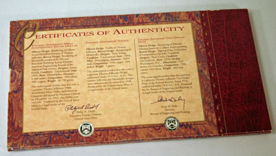 Thomas Jefferson Coin and Currency Set certificate of authenticity