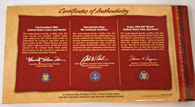 Lewis and Clark Coin and Currency Set certificates of authenticity