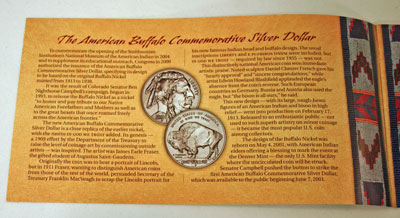 American Buffalo Coin and Currency Set Booklet page 1