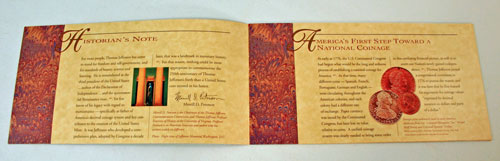 Thomas Jefferson Coin and Currency Set Booklet pages 1 and 2