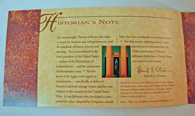 Thomas Jefferson Coin and Currency Set Booklet page 1