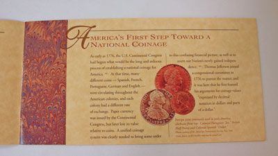 Thomas Jefferson Coin and Currency Set Booklet page 2