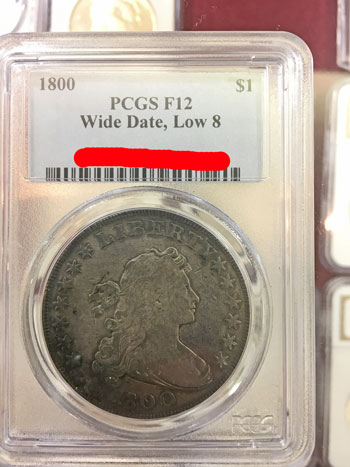 1800 Draped Bust Silver Dollar Coin - Wide Date, Low 8 PCGS F12 obverse