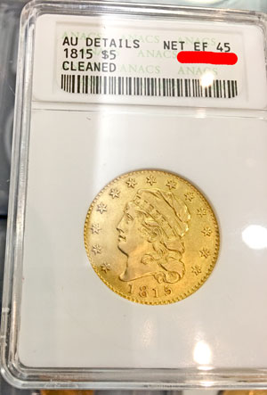 1815 Capped Head Gold Half Eagle ($5) Coin
