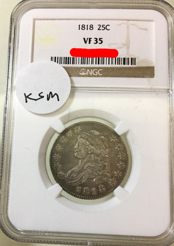 1818 Capped Bust Twenty-Five Cent Coin NGC VF-35