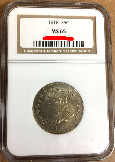 1818 Capped Bust Silver Quarter Dollar NGC MS-65 obverse