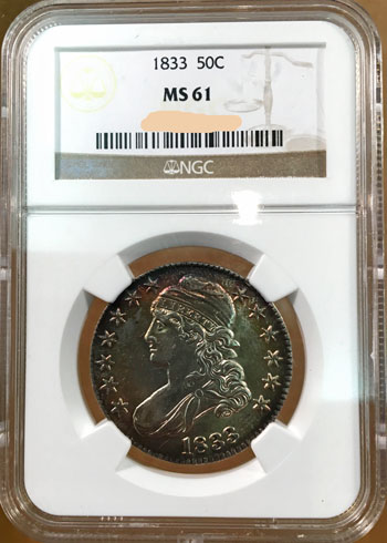 Capped Bust Half Dollar 1833 NGC MS-61