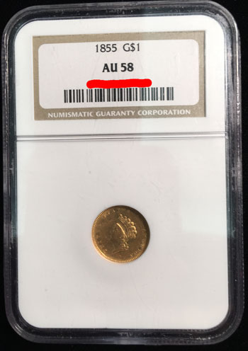 1855 Gold Dollar Coin NGC AU-58 obverse