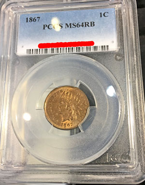 1867 Indian Head Cent PCGS MS64RB