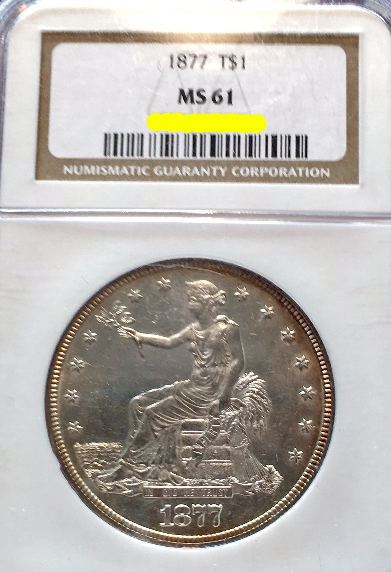 December 2016 Coin Show 1877 Trade Dollar MS-61 NGC