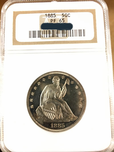 1885 Seated Liberty Half Dollar Coin NGC Proof-65