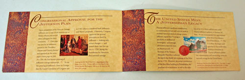 Thomas Jefferson Coin and Currency Set Booklet pages 5 and 6