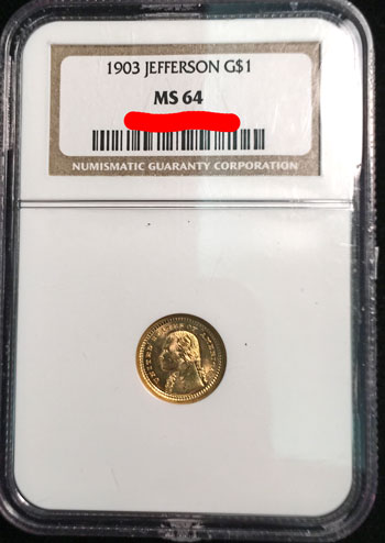 1903 Jefferson Commemorative Gold Dollar Coin NGC MS-64 obverse