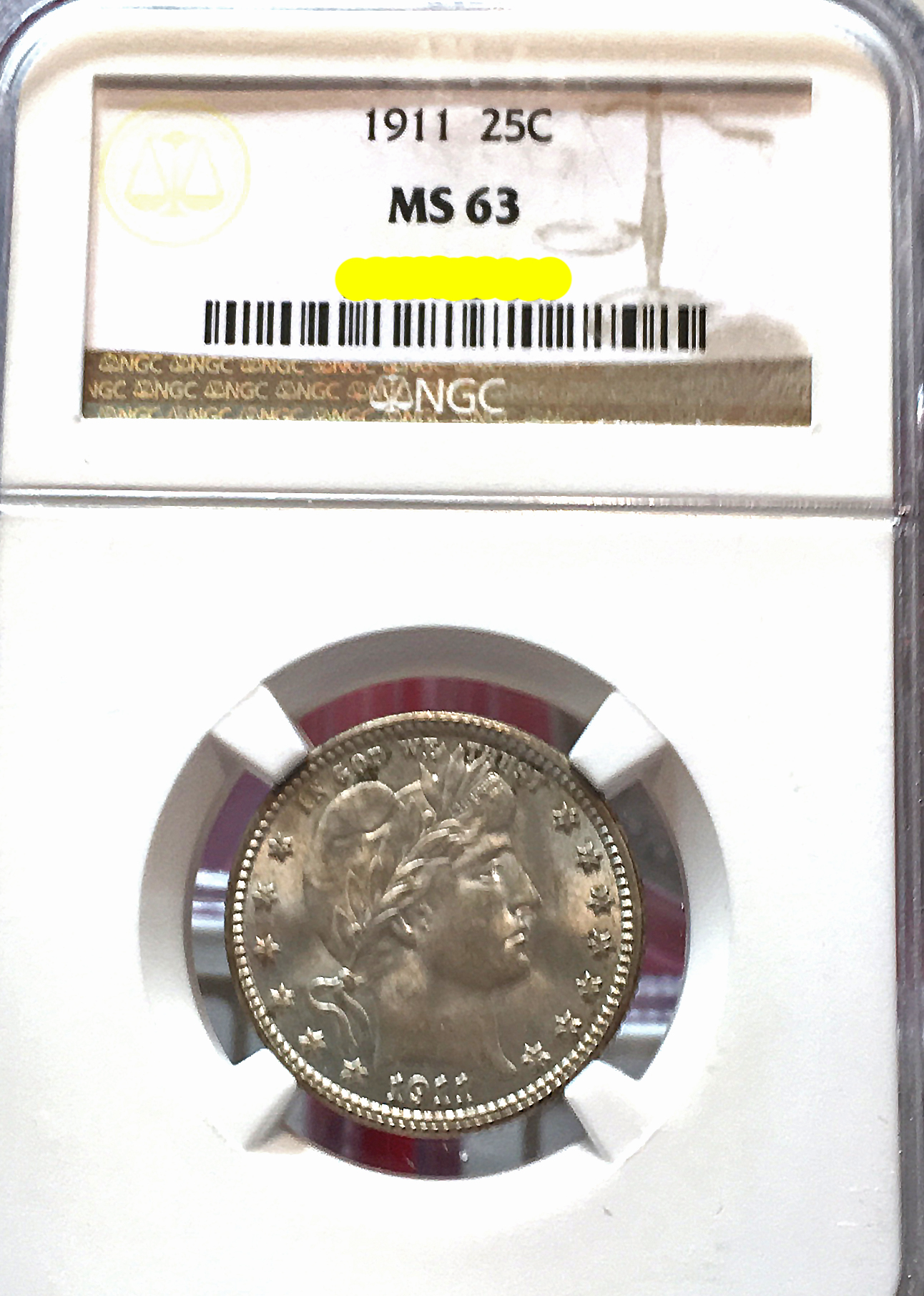 December 2016 Coin Show 1911 Barber Quarter MS-63 NGC