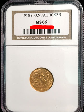 1915 S Panama-Pacific Commemorative Gold Quarter Eagle Coin NGC MS-66