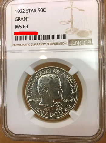 1922 Grant Star Commemorative Silver Half Dollar Coin NGC MS63 obverse