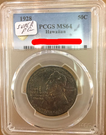 1928 Hawaiian Commemorative Silver Half Dollar Coin PCGS MS64 obverse