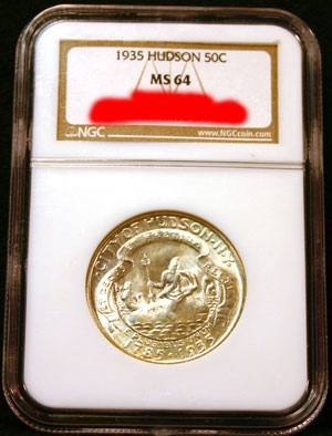 1935 Hudson half dollar in MS-64 certified holder from NGC