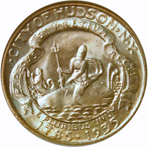 1935 Hudson half dollar showing neptune mounted on a whale with his trident held high