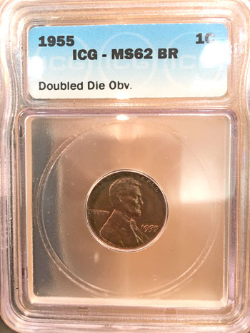 1955 doubled die obverse Lincoln cent