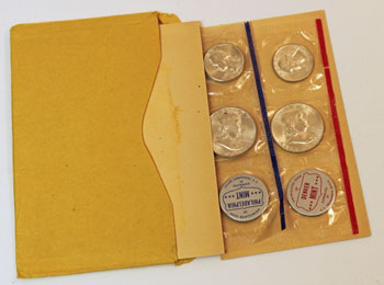 1960 Mint Set opened showing contents and uncirculated coins