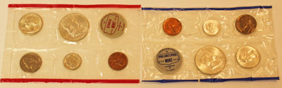 1962 Mint Set obverse images of uncirculated coins
