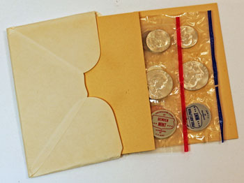 1962 Mint Set opened showing contents and uncirculated coins