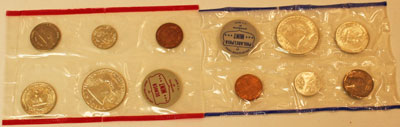 1962 Mint Set reverse images of uncirculated coins