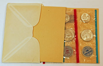1963 Mint Set opened showing uncirculated coins and contents