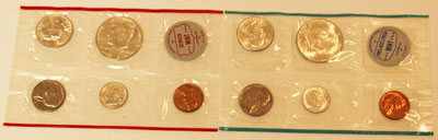 1964 Mint Set obverse images of uncirculated coins