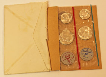 1964 Mint Set Opened showing uncirculated coins and contents