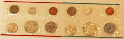 1964 Mint Set reverse images of uncirculated coins