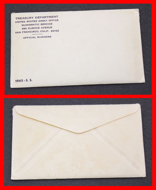 1965 Special Mint Set error showing front and back of envelope