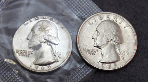 1965 Special Mint Set error coin front compared to circulated coin