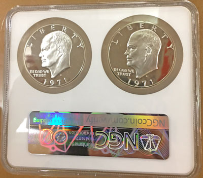 1971 Eisenhower Proof Silver Dollars NGC Type 1 and Type 2 paired set obverse