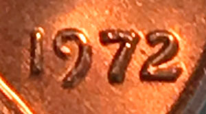 Date close-up of 1972 Lincoln Cent PCGS MS64RD DDO FS-109