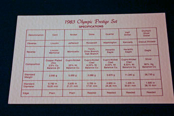 1983 Prestige Set coin specifications