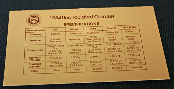 1984 Mint Set coin specifications large view